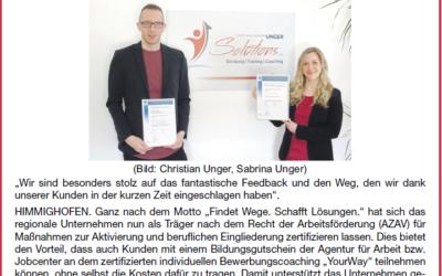 """Zeitungsartikel """"Rhein-Lahn am Wochenende"""""""